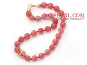 14mm Round Faceted Cherry Quartz Beaded Knotted Necklace with Golden R