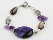 Amethyst and Crystal Bracelet with Moonlight Clasp